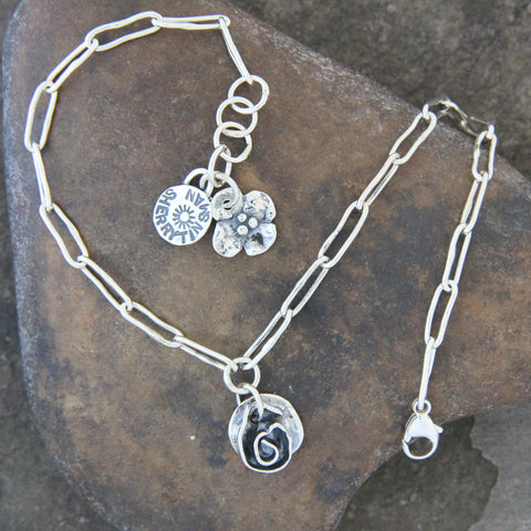 Sterling Silver Rose Anklet