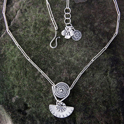 Sterling Silver Spiral and Fan Drop Necklace