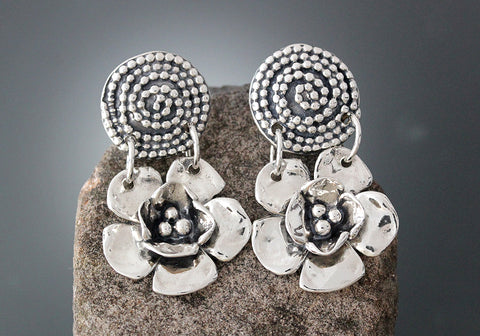 Sterling Silver Large Double Dogwood Flower with Beaded Spiral Drop Earrings
