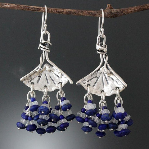 Sterling Silver Ginkgo Earrings with Lapis Lazuli & Rainbow Moonstone Stone Clusters