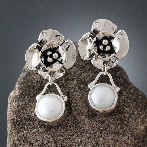 Sterling Silver Double Dogwood Earrings with Pearl Drop