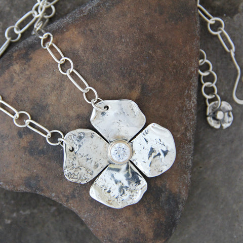 Sterling Silver Dogwood Flower Necklace with CZ in Gold Bezel