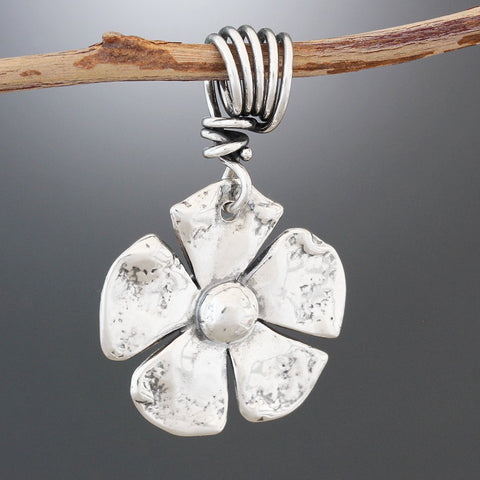 Sterling Silver Double Sided Flower Pendant