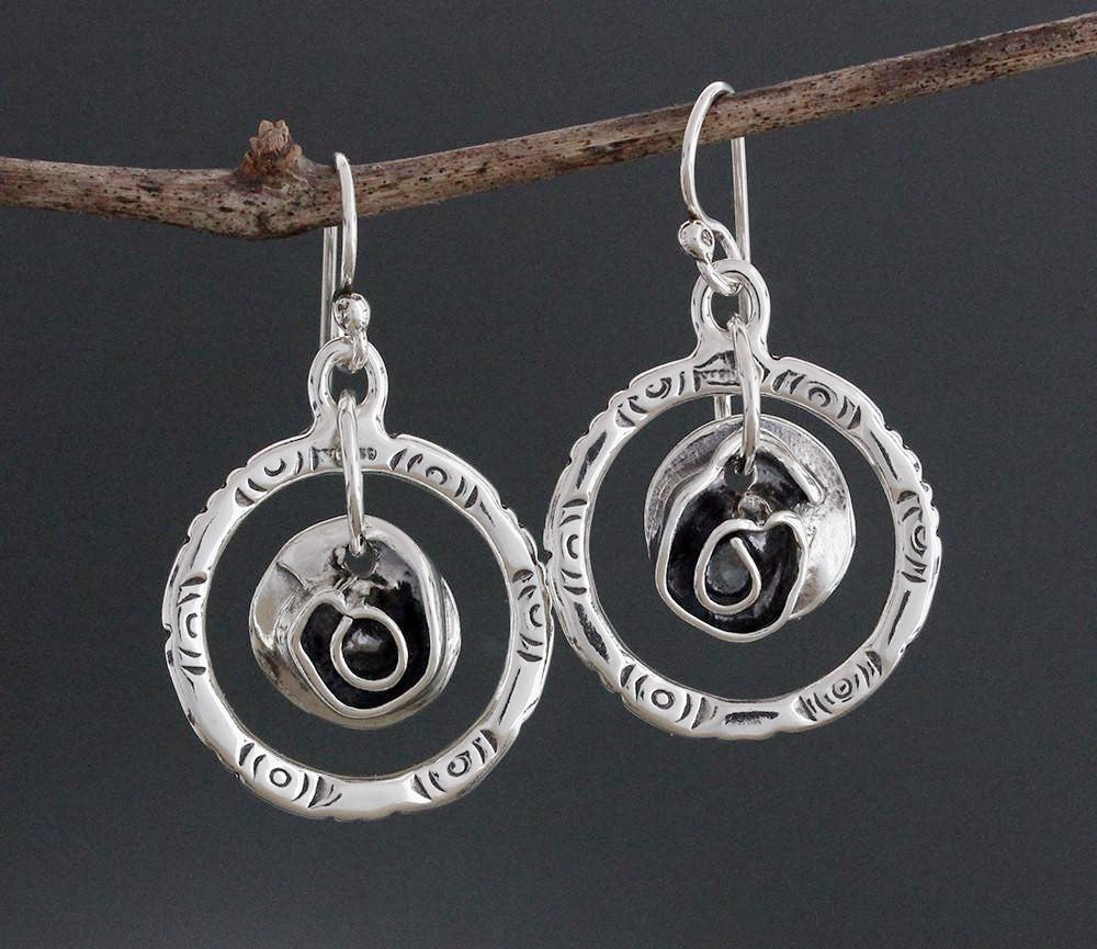 Sterling Silver Hoop Earrings with Rose Center