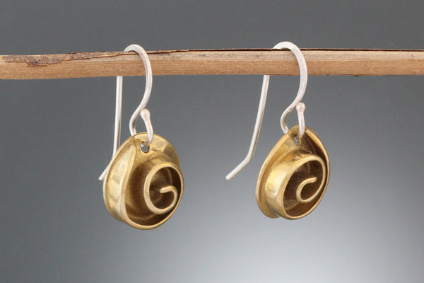 Brass Small Rose Earrings