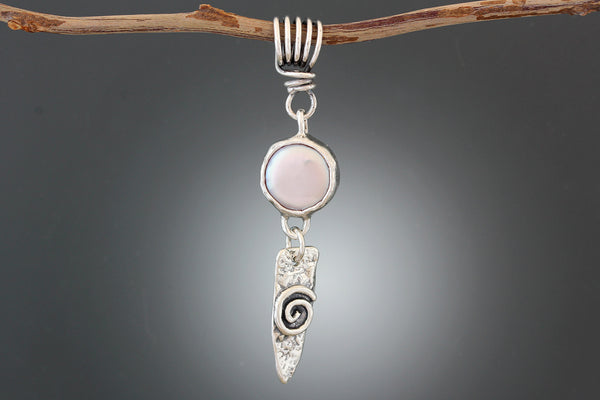 Sterling Silver Pink Pearl Pendant with Spiral Dangle