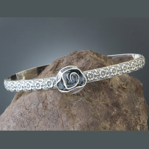 Sterling Silver Floral Adjustable Bangle with Rose