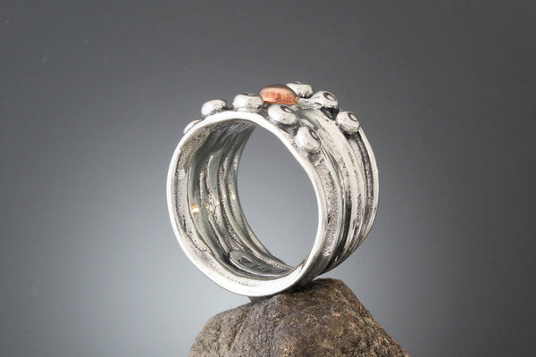 Sterling Silver Wide Nordic Ring with Copper Ball