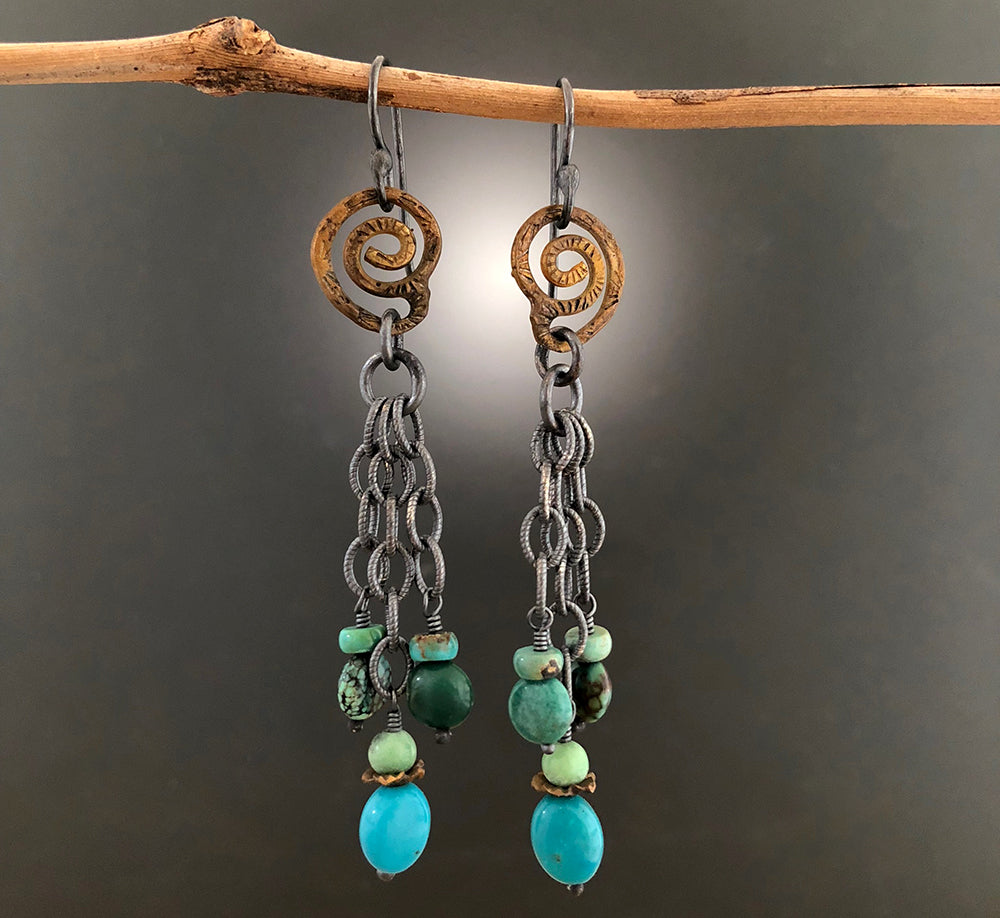 Sterling Silver & Brass Oxidized Turquoise Spiral Earrings