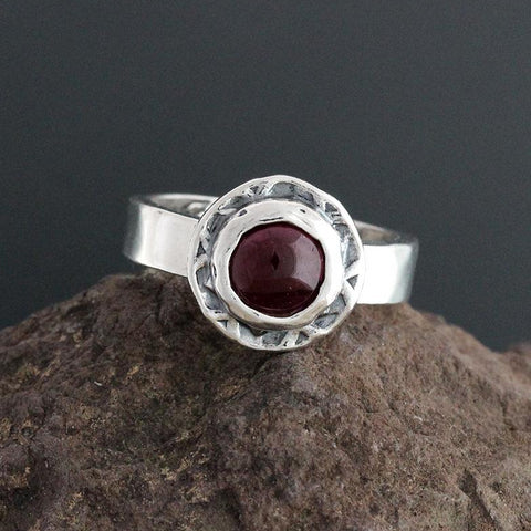 Sterling Silver and Garnet Cabochon Ring