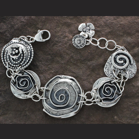 Rose Center Bracelet with Roses, Spiral Heart & Beaded Spiral with Dogwood
