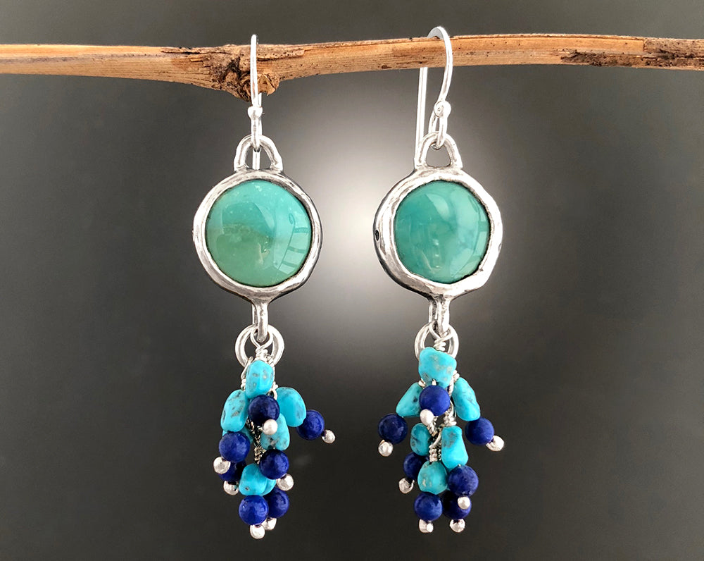 Sterling Silver Turquoise Cluster Earrings