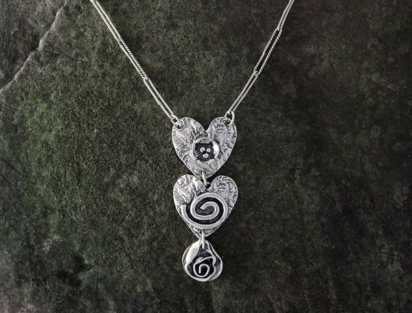 Sterling Silver Heart and Rose Jewelry Set