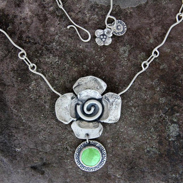 Brushed Sterling Silver Spiral Flower Necklace with Gaspeite Drop