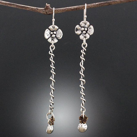 Sterling Silver Long Wrapped Earrings with Bronze Floret
