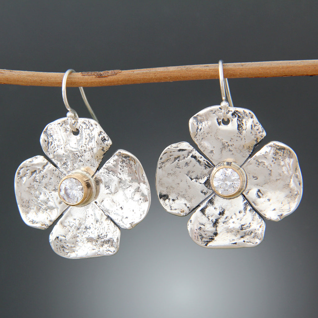 Petal Earrings with CZ in 14k Gold Bezels