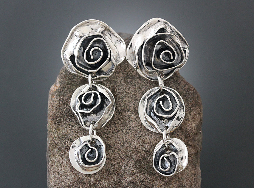Sterling Silver Triple Rose Earrings