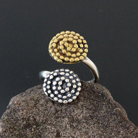 Sterling Silver and Brass Beaded Spiral Flare Ring