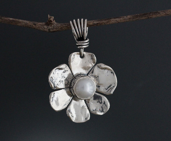 Sterling Silver Dogwood Flower with Pearl Pendant