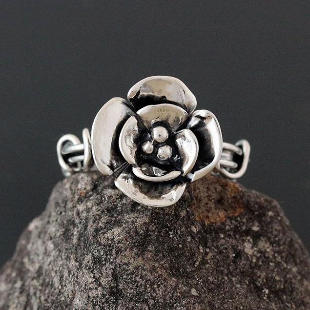 Sterling Silver Light Wrapped Vine Ring with Double Dogwood Flower - Size 10 1/2