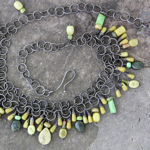 Oxidized Sterling Silver Green Stone Necklace