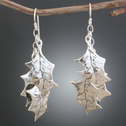 Holly Leaf Cluster Earrings