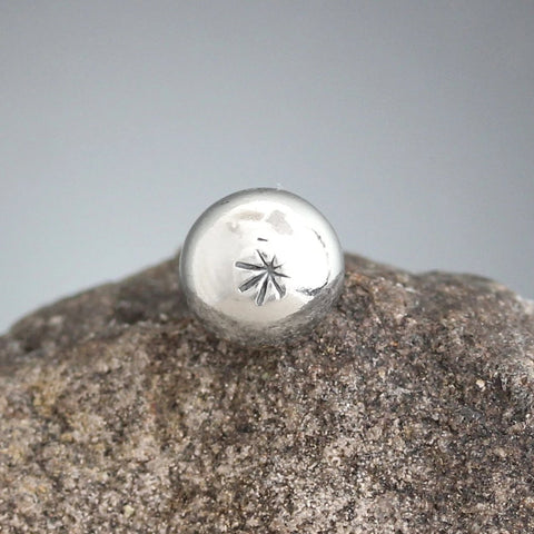 Small Sterling Silver Sunburst Stamped Scatter Pin