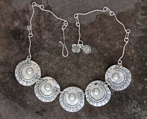 Sterling Silver Statement Shield Necklace