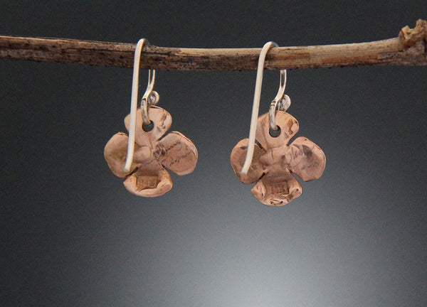 Dogwood Flower Earrings in Rose Gold