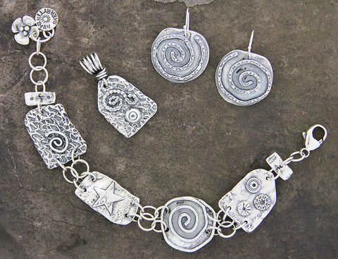 Sterling Silver Textured Abstract Jewelry Set