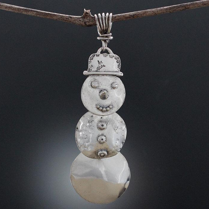 Sterling Silver Snow Person Pendant or Ornament