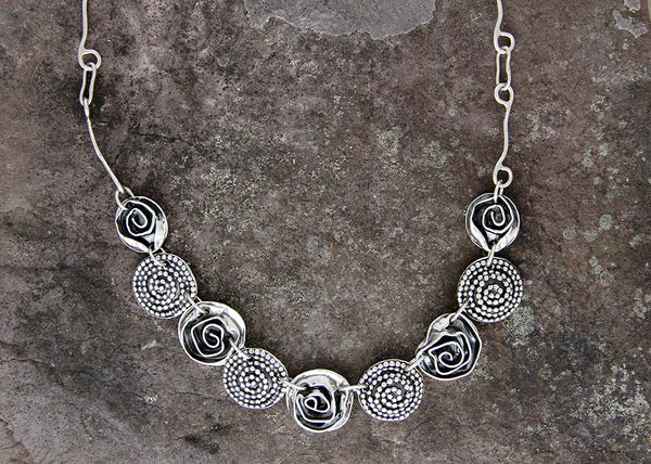 Rose and Beaded Spiral Jewelry Set