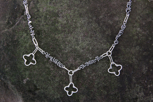 Sterling Silver Quatrefoil Jewelry Set