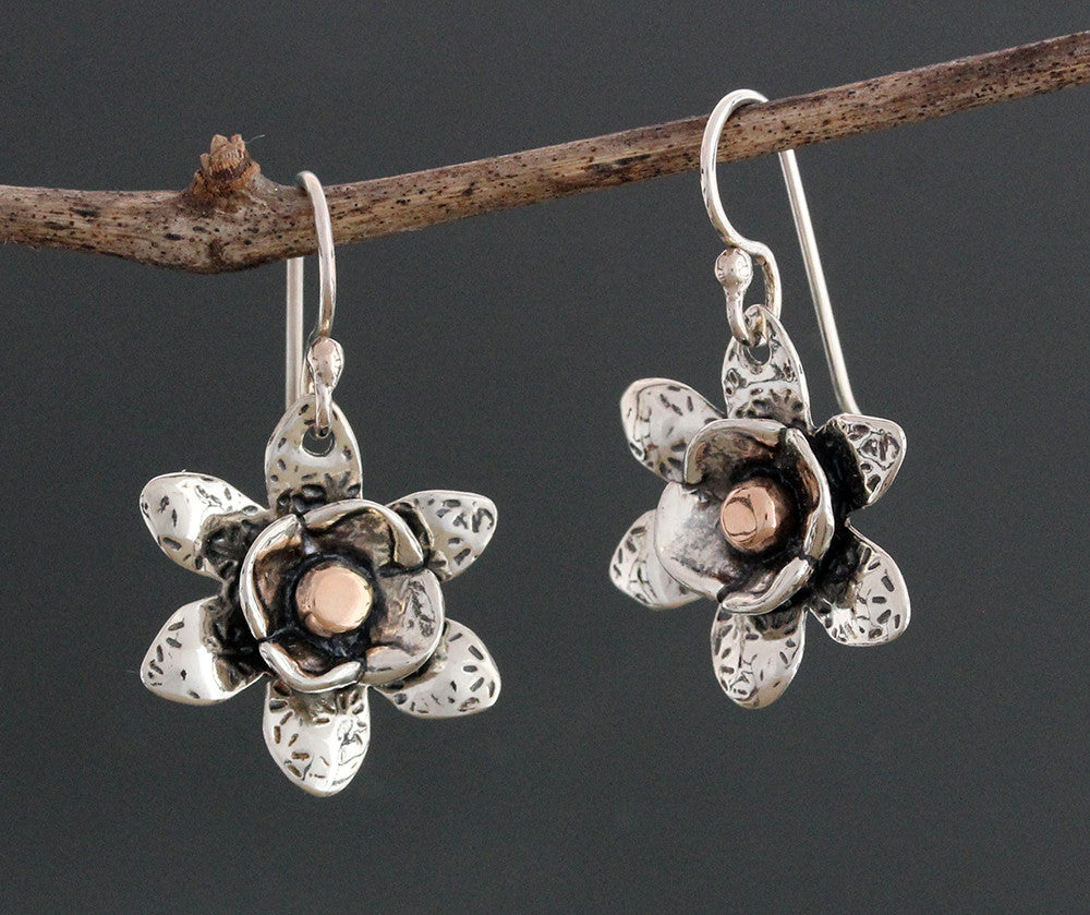 Sterling Silver Water Lily Earrings with Rose Gold Center