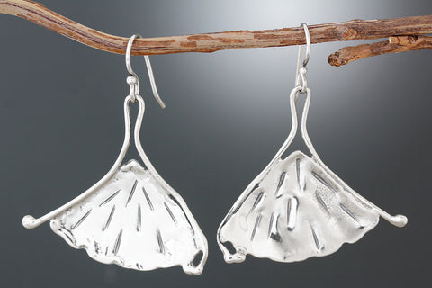 Sterling Silver Ginkgo Leaf Flutter Earrings