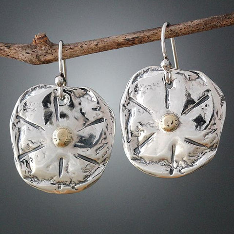 Sterling Silver Sand Dollar Earrings with Gold Center