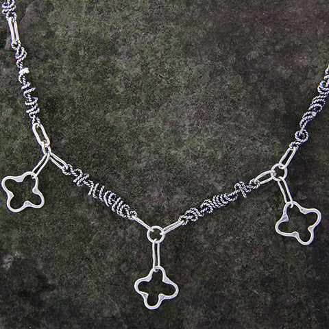 Sterling Silver Quatrefoil Charms on Textured Wrapped Vine Chain Necklace