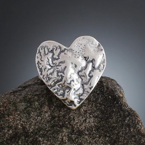 Medium Sterling Silver Heart Scatter Pin
