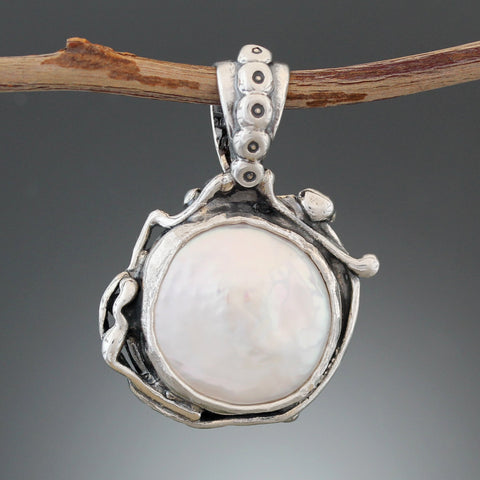 Sterling Silver Coin Pearl Pendant with Structured Nordic Bail