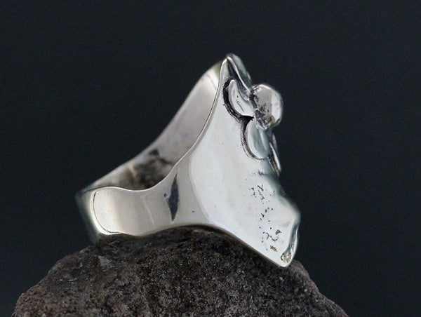 Sterling Silver Wide Top Daisy Ring