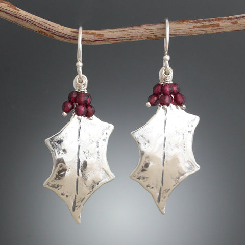 "Sterling Silver Holly Leaf Earrings with optional Garnet ""Berries"""