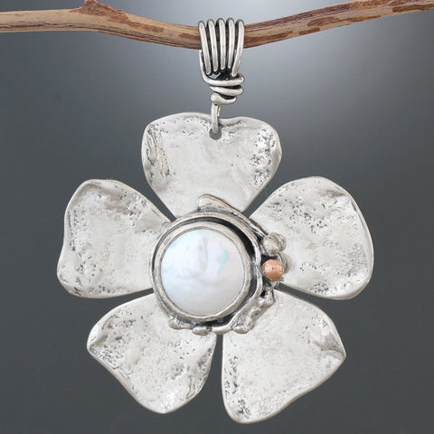 Pearl Flower Pendant with Rose Gold Accent