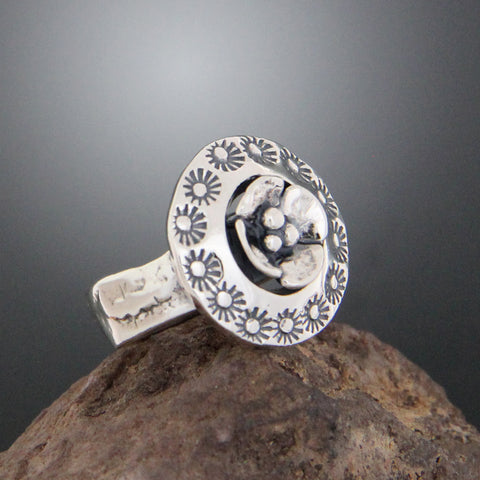 Sterling Silver Floral Stamped Ring with Dogwood Flower