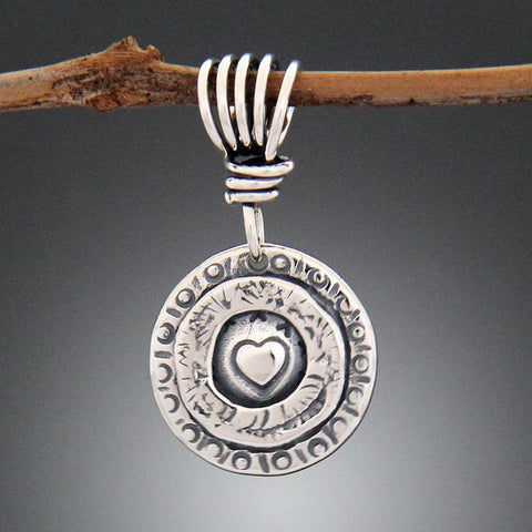 Sterling Silver Heart Stamped Pendant