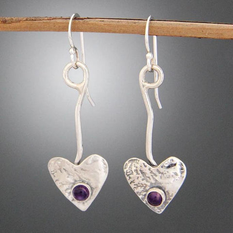 Sterling Silver Heart on Vine Earrings with Carnelian or Amethyst