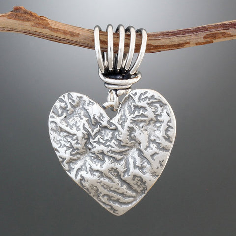 Sterling Silver Reticulated Heart Pendant