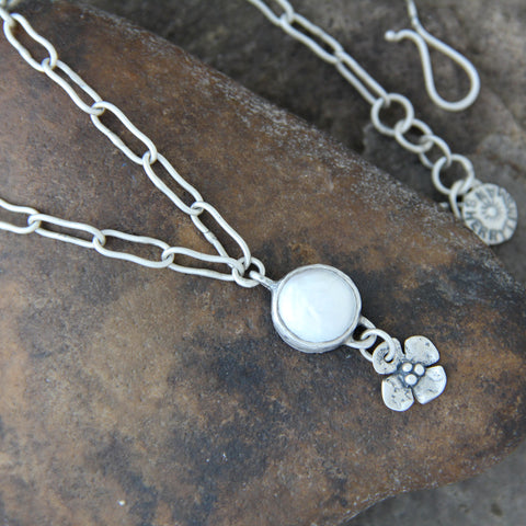 Brushed Sterling Silver Pearl Necklace with Dogwood Flower Drop