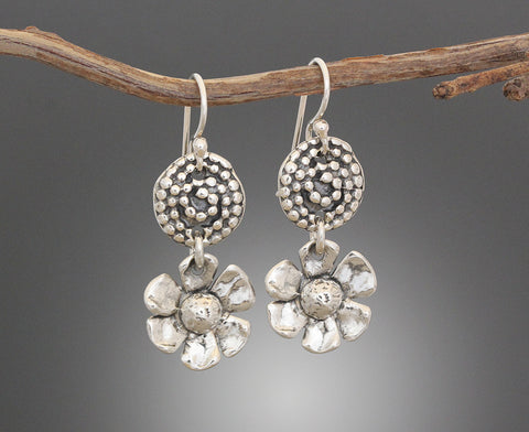 Sterling Silver Beaded Spiral with Daisy Drop Earrings