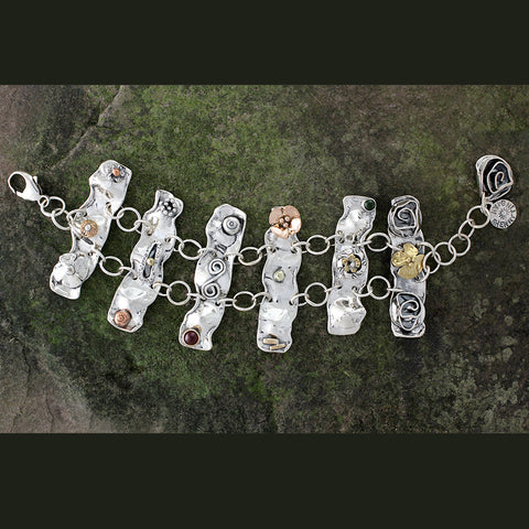 Sterling Silver Mixed Element Statement Bracelet
