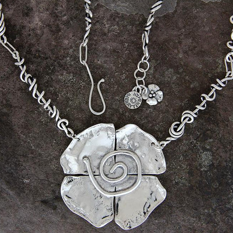 Sterling Silver Spiral Flower Statement Necklace with Wrapped Vine Chain